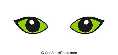 Green cat eyes icon.
