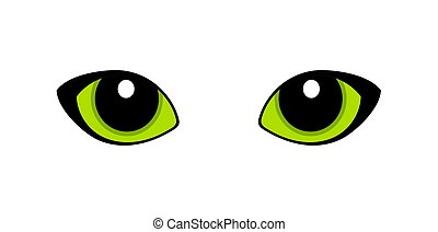 Green cat eyes isolated