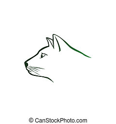 Green cat head logo