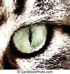 Green cat's eye concept. Vector