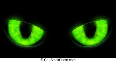 Green cats eyes isolated on a black background. Stock vector ill