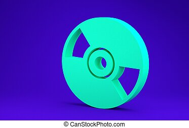 Green CD or DVD disk icon isolated on blue background. Compact disc sign. Minimalism concept. 3d illustration 3D render