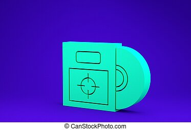 Green CD or DVD disk in box icon isolated on blue background. Compact disc sign. Minimalism concept. 3d illustration 3D render