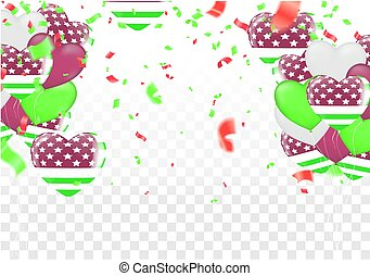 green celebration with ribbon, confetti and balloon