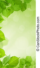 Green cell phone wallpaper. Fresh spring leaves on blurred background with bokeh light