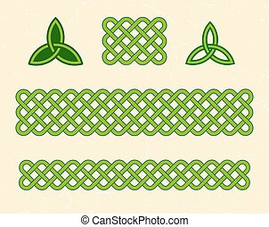 Green celtic borders and elements - Traditional green celtic...