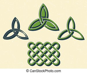 Green celtic elements - Traditional green celtic style...