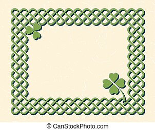Green celtic frame with shamrock - Traditional green celtic...