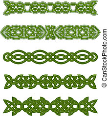 Green celtic ornaments and embellishments for design and...