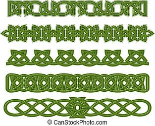 Green celtic ornaments - Green celtic ethnic ornaments and...