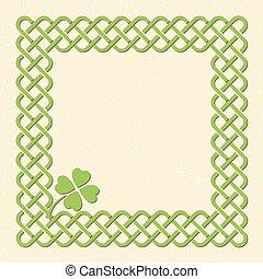Green celtic shamrock frame - Traditional green celtic style...