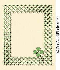 Green celtic shamrock frame