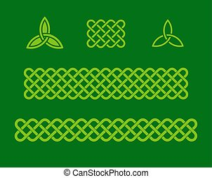 Green celtic style design elements - Traditional celtic...