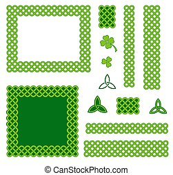 Green celtic style design elements - Traditional green...