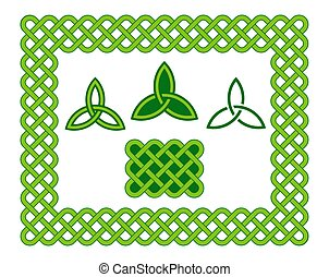 Green celtic style frame and design elements - Traditional...