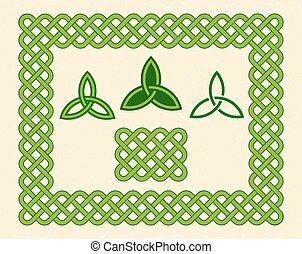 Green celtic style frame and elements - Traditional green...