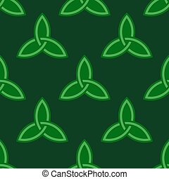 Green celtic style seamless pattern - Traditional dark green...