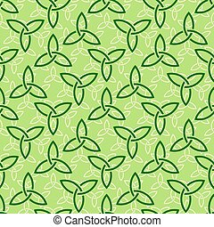 Green celtic style seamless pattern - Traditional green...