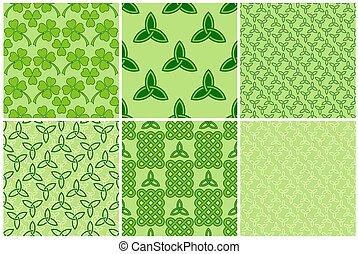 Green celtic style seamless patterns set