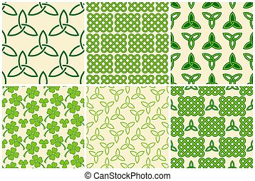 Green celtic style seamless patterns set - Traditional green...