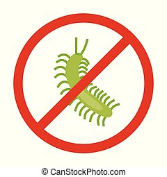 Green centipede on white background red circle warning sign