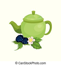 Green ceramic teapot, blackberry with leaves and blossom, natural herbal tea vector Illustration