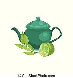 Green ceramic teapot, lime fruit and a sprig of jasmine, natural herbal tea vector Illustration