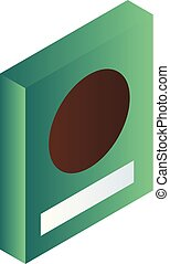 Green cereals box icon, isometric style