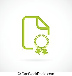 Green certificate document icon isolated on white background