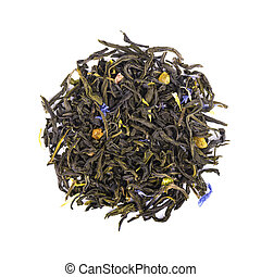 Green Ceylon tea with cornflower and candied fruit, isolated on white background. Top view.