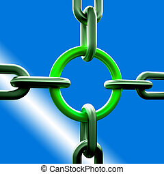 Green Chain Link Showing Strength Security Safety and Togetherness