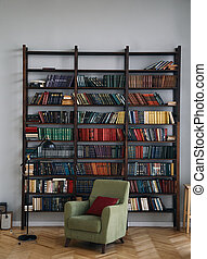 green chair in the interior. Bookcase with old books on the shelves. Books in an old wooden Cabinet