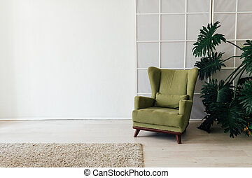 green chair with a plant in the interior of the white room