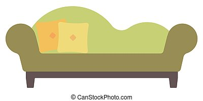 Green chaise lounge with pillows vector flat design illustration isolated on white background.