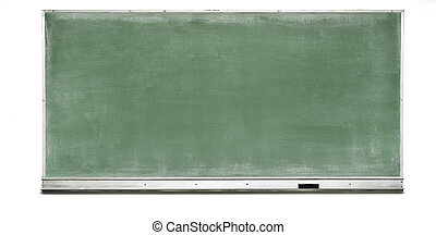 Green Chalk Board with silver frame and tray holding an...