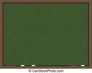 A blank chalkboard with a green slate that has the appearance of being recently erased and wood trim. Sitting on the bottom part of the trim are two grey erasers and three pieces of chalk.