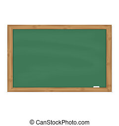 Green chalkboard with chalk in a wooden frame
