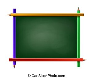 Green chalkboard with frame of pencils. Isolated on white background.