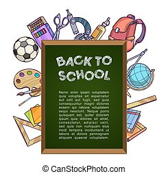Green chalkboard with school supplies - back to school concept