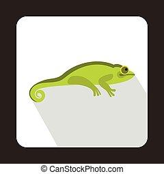 Green chameleon icon, flat style