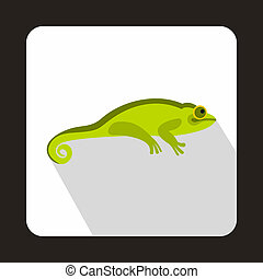 Green chameleon icon, flat style