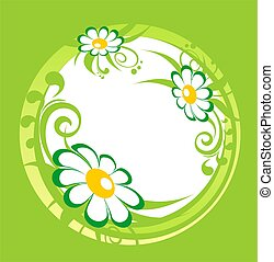 Green chamomiles frame