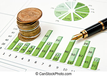 Green chart, coins and pen