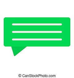 Green chat bubble icon, flat style