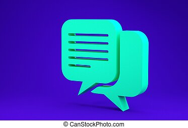 Green Chat icon isolated on blue background. Speech bubbles symbol. Minimalism concept. 3d illustration 3D render