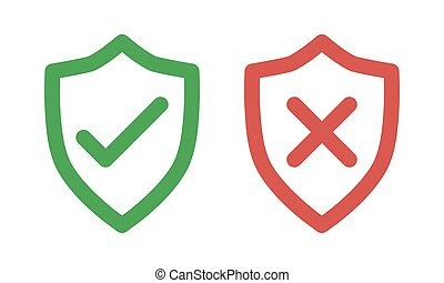 green check and red cross symbols, shield thin line vector signs