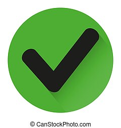 green check icon with shadow on white background