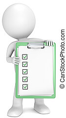 3D little human character holding a clipboard with check list. Green. People series.