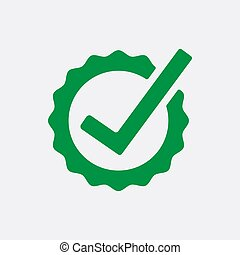 Green Check list button icon. Check mark in round sign. Vector illustration.