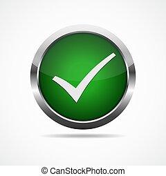 Green check mark button. Vector illustration.